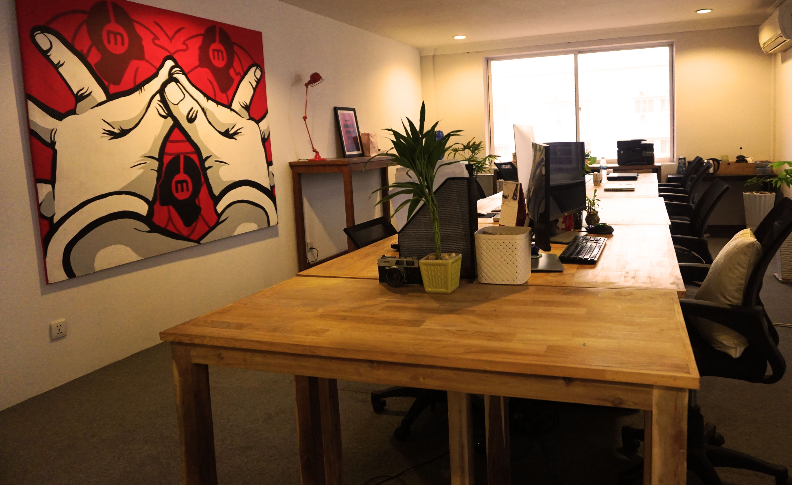 Office For Rent with tables, chairs and Internet